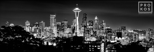An ultra high-definition panoramic skyline of Seattle, Washington at night in black and white. Large-scale fine art prints of this photo are available up to 120 inches wide.
