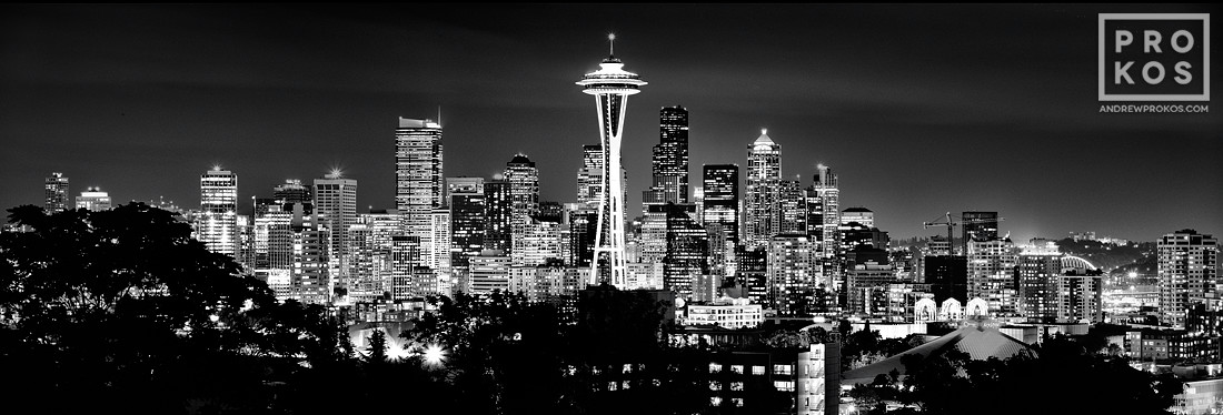 A panoramic Skyline of Seattle, Washington at Night in black and white