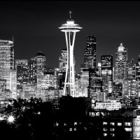 View of the Seattle Skyline at Night (B&W)