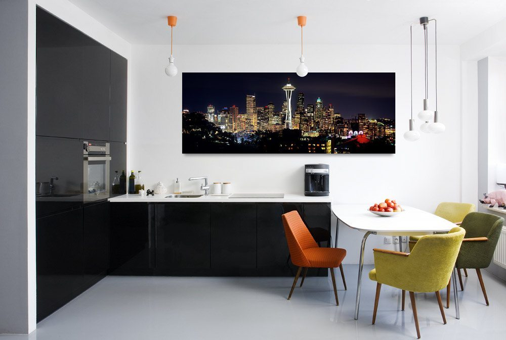 Float-mounted acrylic prints of the Seattle skyline at night by photographer Andrew Prokos