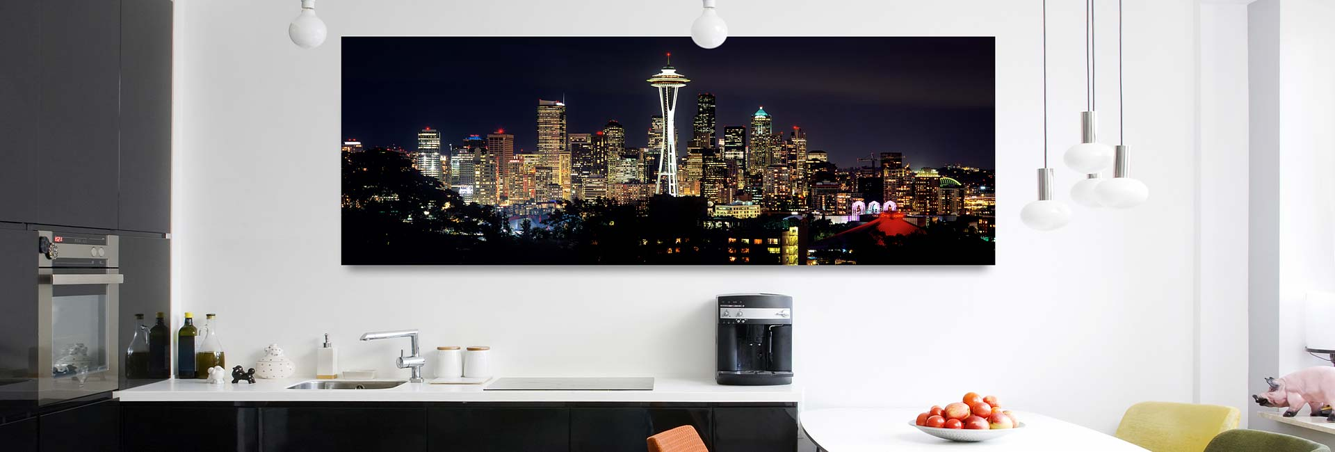 Panoramic skyline of Seattle at night – high-definition gallery print with acrylic float mount