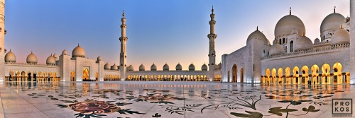 An ultra high-definition panoramic photo of Sheikh Zayed Grand Mosque at dusk, Abu Dhabi, UAE