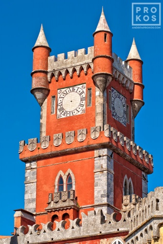 An architectural fine art photo of the Clock Tower of the Palacio da Pena in Sintra, Portugal