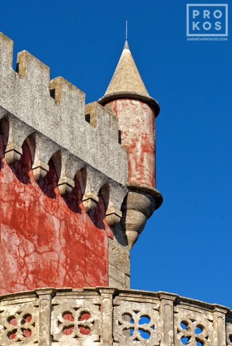 An architectural detail photo of turret from the Palacio da Pena in Sintra, Portugal