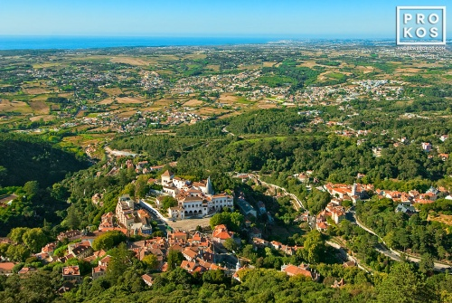 A view of Sintra, Portugal and it's environs from above.
