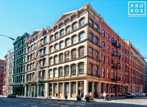 An architectural photo of the cast-iron loft buildings in Soho, New York City