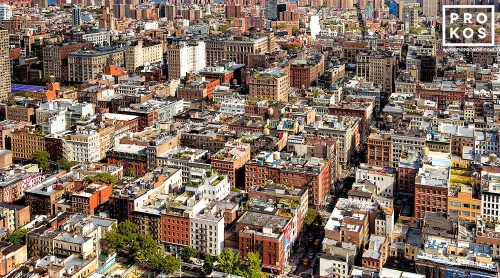 An ultra-high-definition panoramic city view of the rooftops of SoHo during the day, New York City