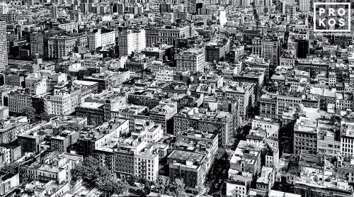 An ultra high-definition black and white cityscape of the rooftops of SoHo, New York City as seen from above. Large-scale fine art prints of this photo are available up to 90 inches wide.