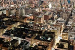 An ultra-high-definition panoramic photo of the rooftops of SoHo, New York City transitioning from day to night, from Andrew's 'Night & Day' series.