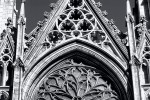 A detail of the stonework from the gothic facadeof St. Patrick's Cathedral, New York City in black and white