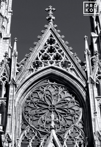 A detail of the stonework from the gothic facade of St. Patrick's Cathedral, New York City in black and white