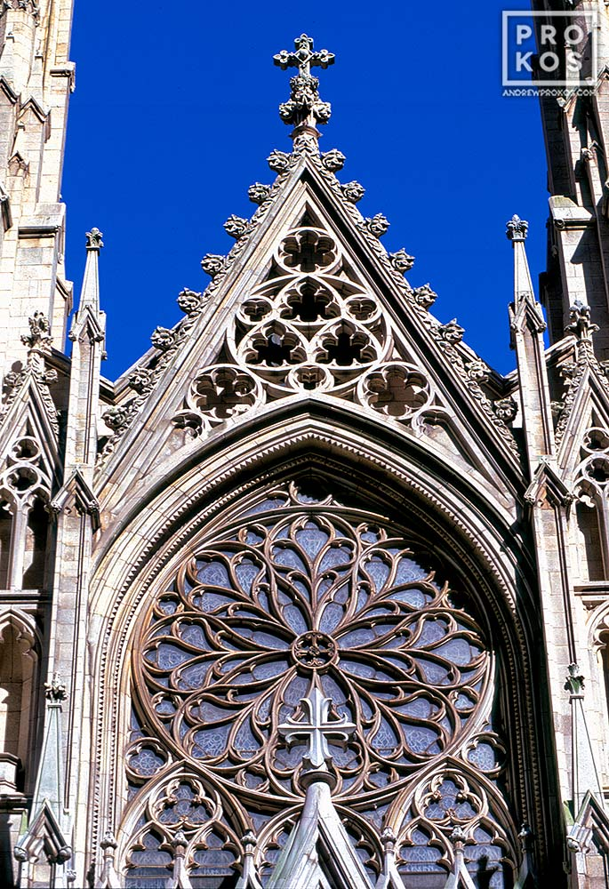 An architectural detail photo of the Gothic stonework from the facade of St. Patrick's Cathedral, New York City