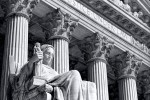 A black and white fine art architectural photo of the U.S. Supreme Court with the Contemplation of Justice statue, Washington DC