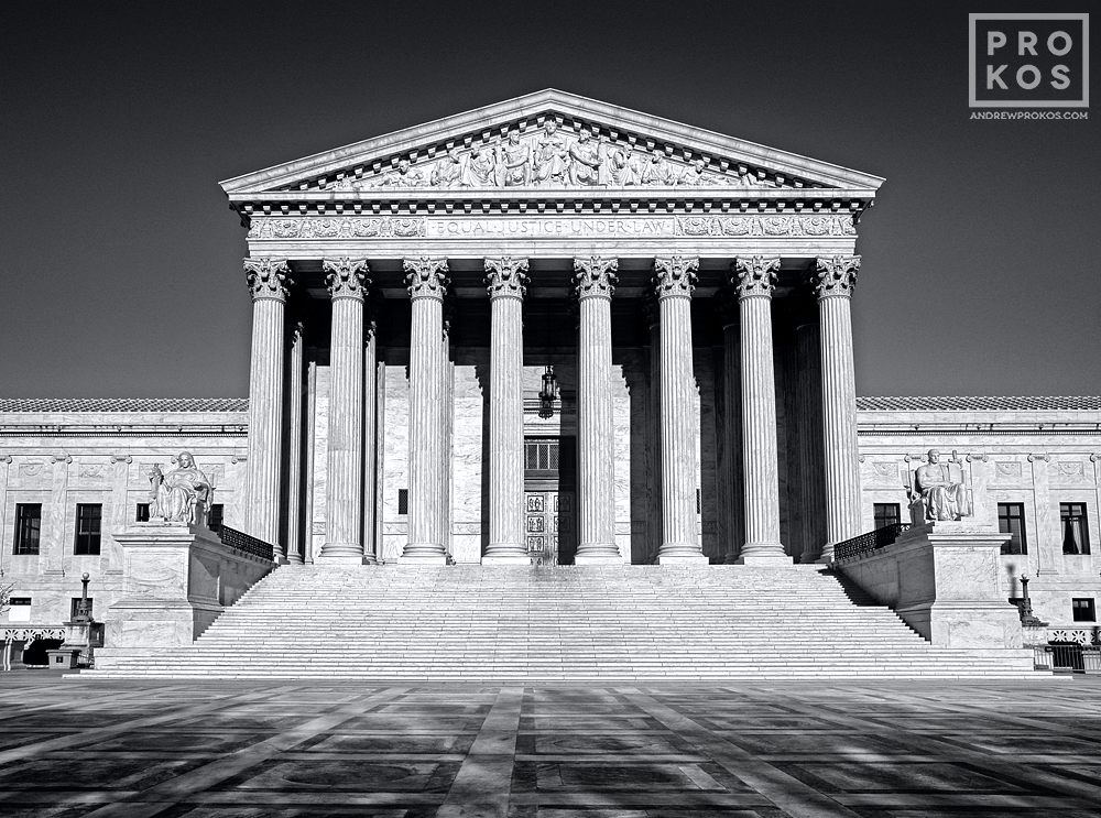 A view of the United States Supreme Court in black and white, Washington DC