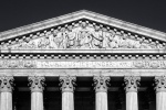 A black and white architectural panorama of the United States Supreme Court building's West Pediment, Washington DC