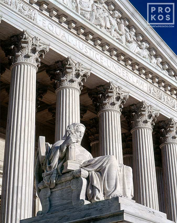 A color architectural photo of the US Supreme Court building with 'Contemplation of Justice' statue, Washington DC