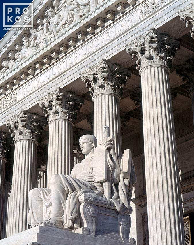 Facade of the United States Supreme Court with the 'Guardian of Law' statue, Washington DC<br><br>