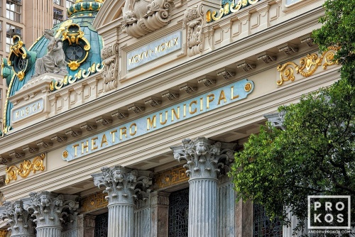 A fine art architectural photo of the Facade of the Theatro Municipal in Rio de Janeiro