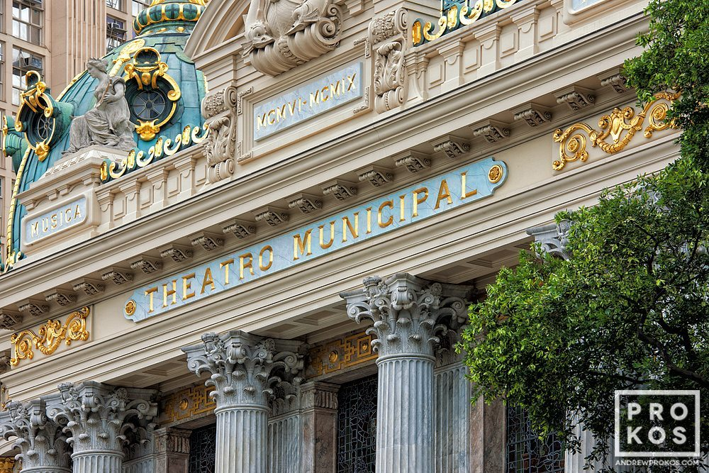A fine art architectural photo of the Facade of the Theatro Municipal in Rio de Janeiro. Fachada do Theatro Municipal do Rio de Janeiro.