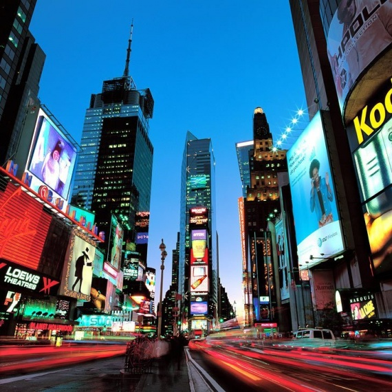 A long-exposure fine art photo of New York City's Times Square at dusk