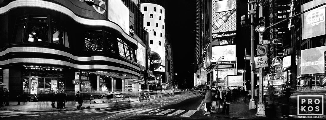 A view of Times Square at night in black and white, New York City.