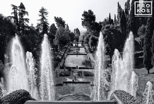 A black and white landscape photo of the gardens of the Villa D'Este, Tivoli, Italy