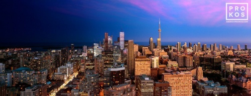 A high-definition panoramic cityscape photo of Toronto, Canada from Andrew's 'Night & Day' series.