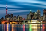 panoramic skyline of toronto at dusk