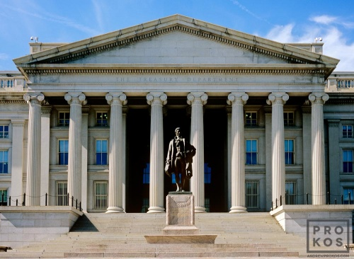 A photo of the exterior of the United States Treasury building, Washington DC