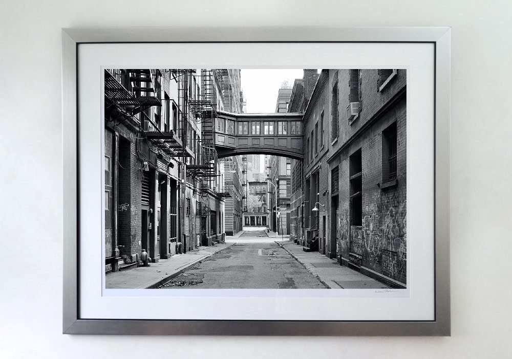 30x40 inch black and white photo of Tribeca NYC framed with a brushed silver solid wood frame