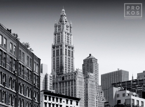 A fine art cityscape photo of the Tribeca skyline and Woolworth Building in black and white, New York City