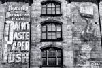 A black and white fine art photo of a painted street mural in black and white, Tribeca, New York City