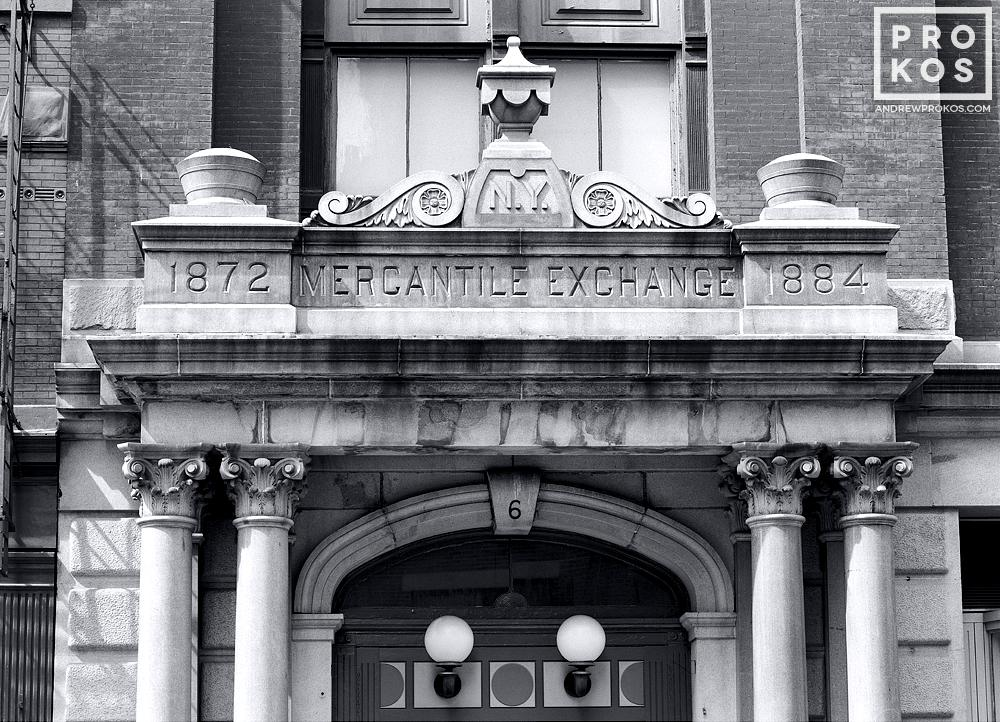 Facade of the Old New York Mercantile Exchange in Tribeca in black and white, New York City
