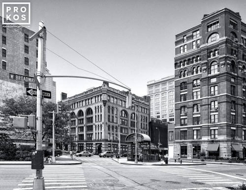 A black and white street scene from West Broadway, in the Tribeca neigborhood of New York City