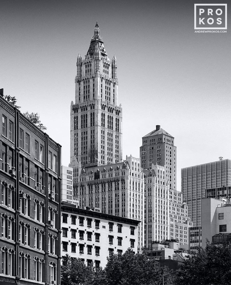 A Tribeca cityscape with the Woolworth Building in black and white, New York City