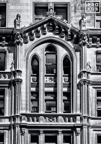 The gothic inspired facade of the Trinity Building in New York's Financial District
