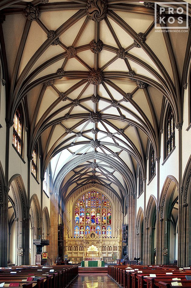 Interior view of Trinity Church in Lower Manhattan, New York City