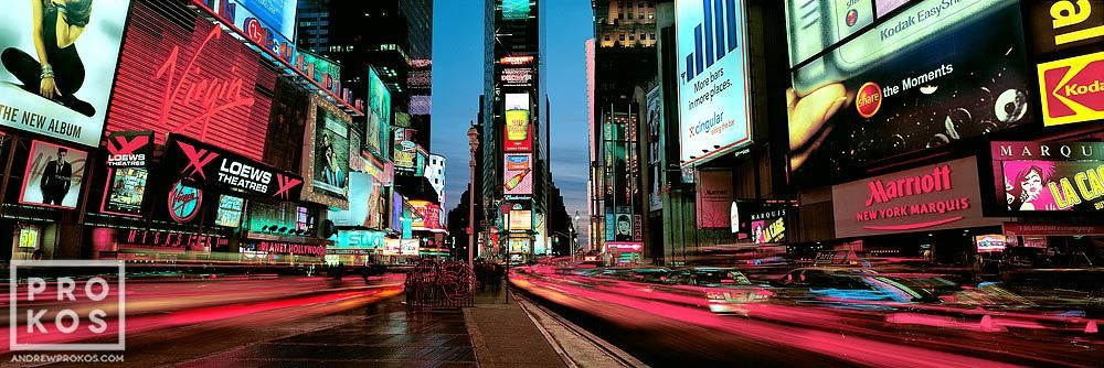 A panoramic view of Times Square at dusk, New York City