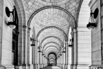 A black and white fine art architectural photo of Union Station's Grand Concourse, Washington DC