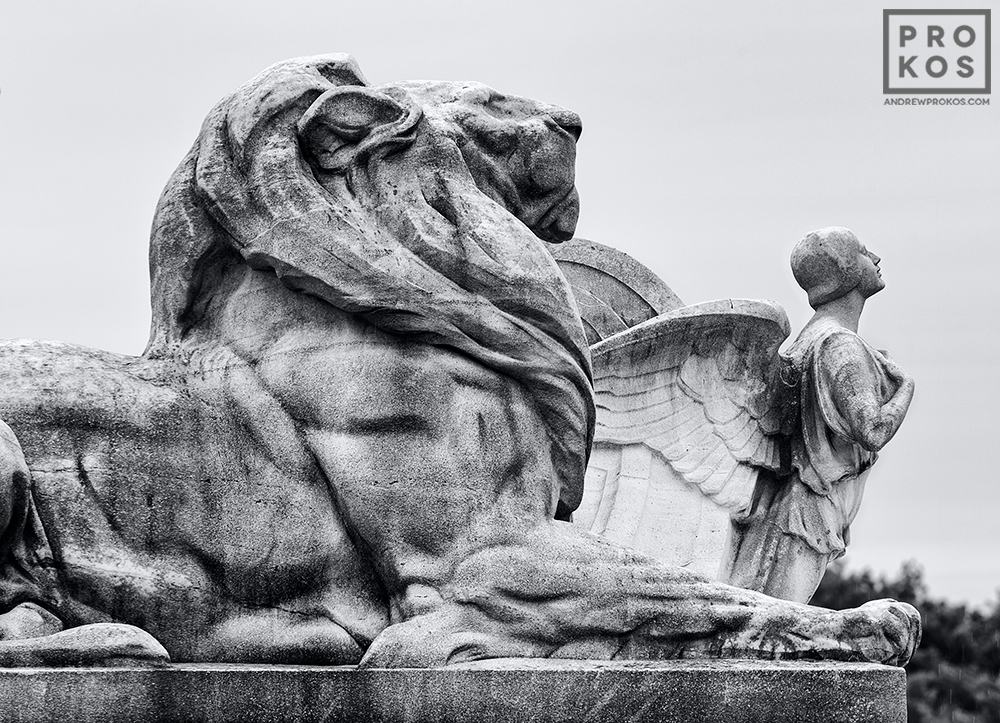 A black and white fine art photograph of the Columbus Fountain at Union Station in Washington DC