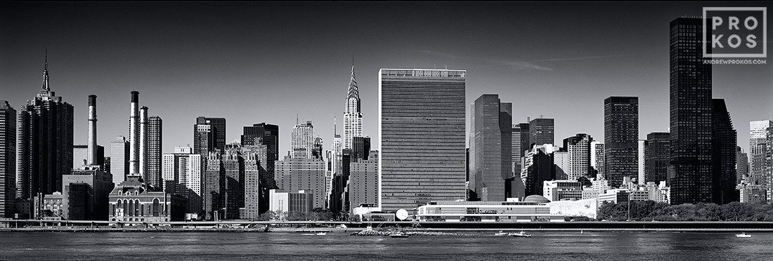 An ultra high-definition black and white panoramic skyline of East Midtown Manhattan and the United Nations, New York City. Large-scale fine art prints of this photo are available up to 120 inches wide.