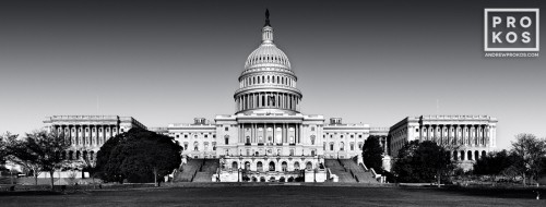 A panoramic view of the United States Capitol Building's West Front in black and white, Washington D.C.