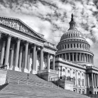 Panoramic View of the U.S. Capitol East Front (B&W)