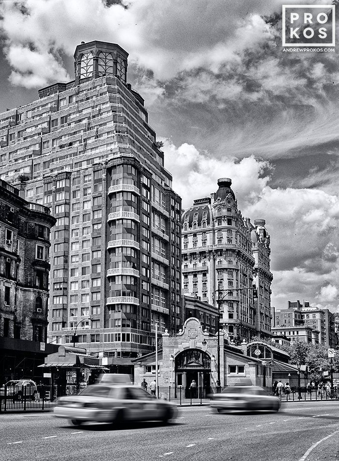 A black and white street photo of Broadway and the 72nd Street subway station on Manhattan's Upper West Side