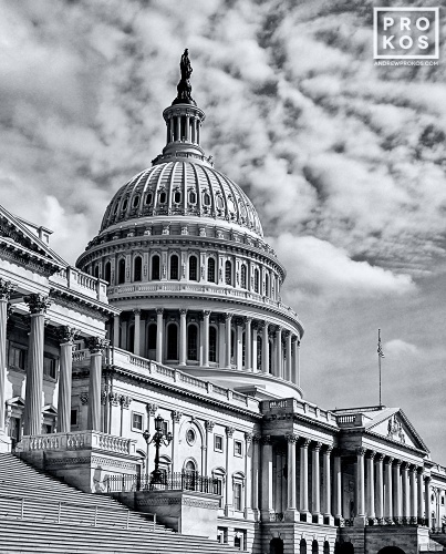 A high-definition black and white architectural photo of the East Front of the U.S. Capitol building, Washington D.C.