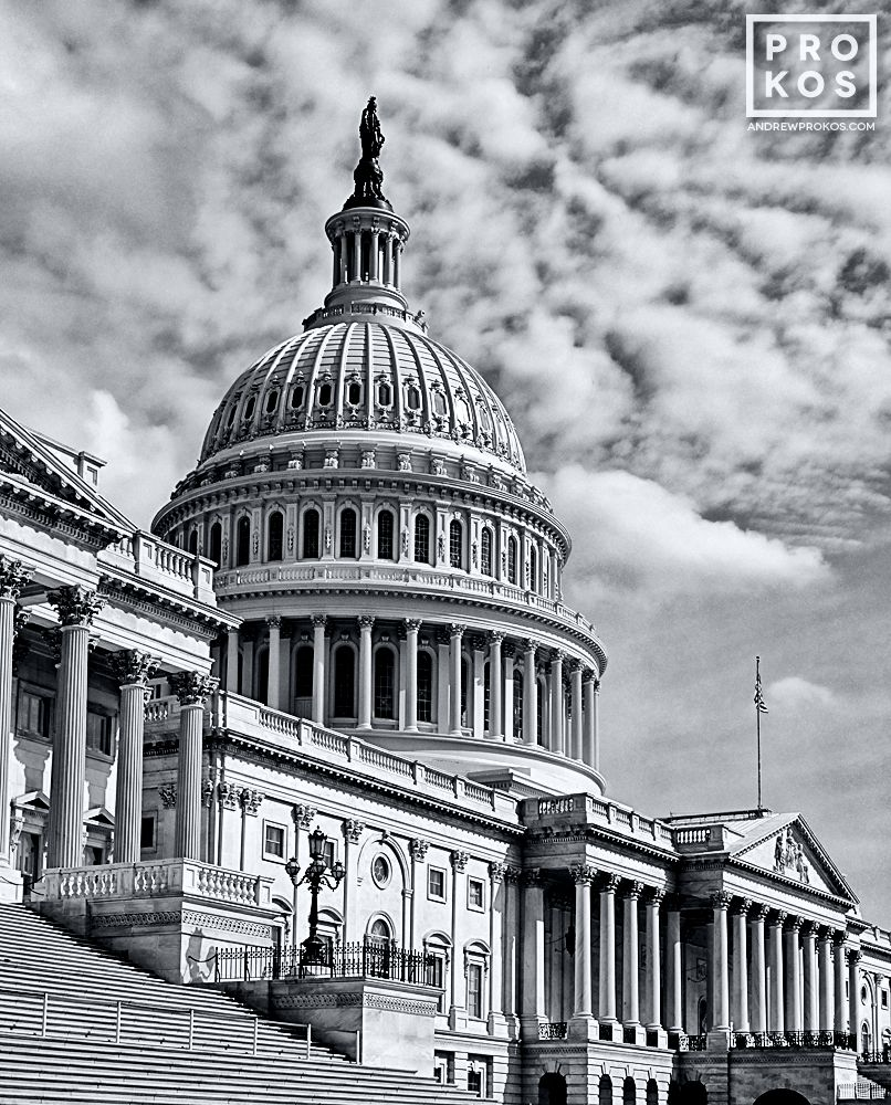 A black and white view of the East Front of the U.S. Capitol building, Washington D.C.