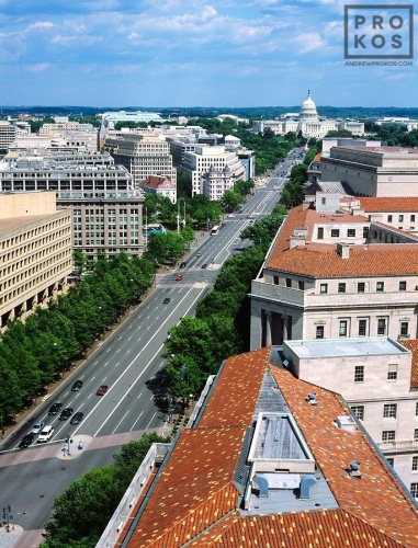 An elevated view of the U.S. Capitol, Pennsylvania Avenue, and the government buildings in Federal Triangle, Washington DC