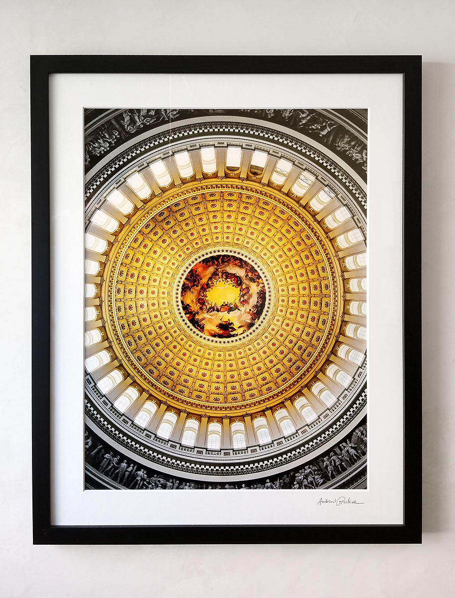 US Capitol Rotunda Interior Framed Print by Andrew Prokos
