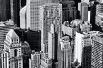 An black and white view of the skyscrapers of Midtown Manhattan, New York City