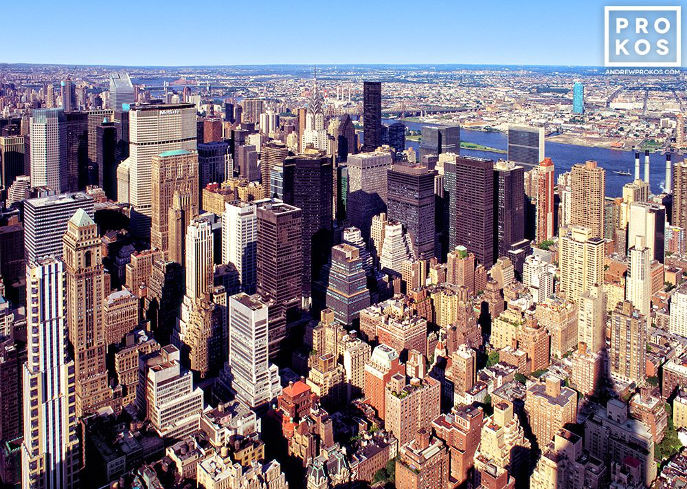 A city view photo of the skyscrapers of Midtown Manhattan, New York City as seen from the Empire State Building